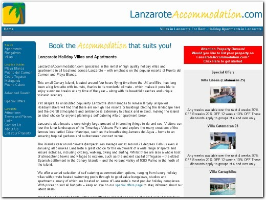 http://www.lanzaroteaccommodation.com website